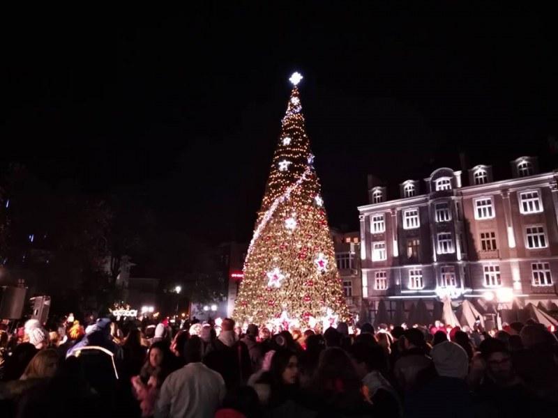 Коледната елха в Пловдив грейна, пищна заря озари небето СНИМКИ и ВИДЕО