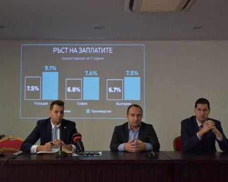 Пловдив с по-висок ръст на заплатите от София