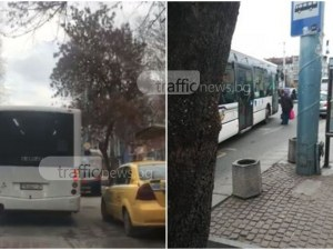 Шофьор на автобус затрудни движението на улица в Пловдив заради закуска СНИМКИ