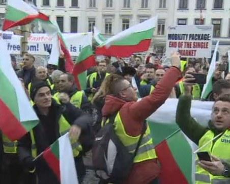 Стотици българските превозвачи протестират в Брюксел СНИМКИ