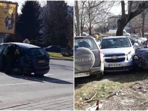 Шофьор потроши няколко коли в Кършияка, за да мине на пряко СНИМКИ