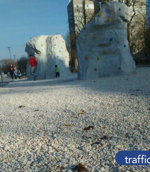 Кучета превзеха новата детска площадка край Марица, оставиха кафяви следи ВИДЕО+СНИМКИ