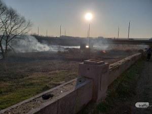 Нов пожар избухна в коритото на река Марица в Пловдив СНИМКИ