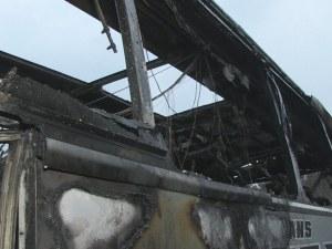 Автобус с един тон гориво в резервоара изгоря на пътя Русе-Бяла