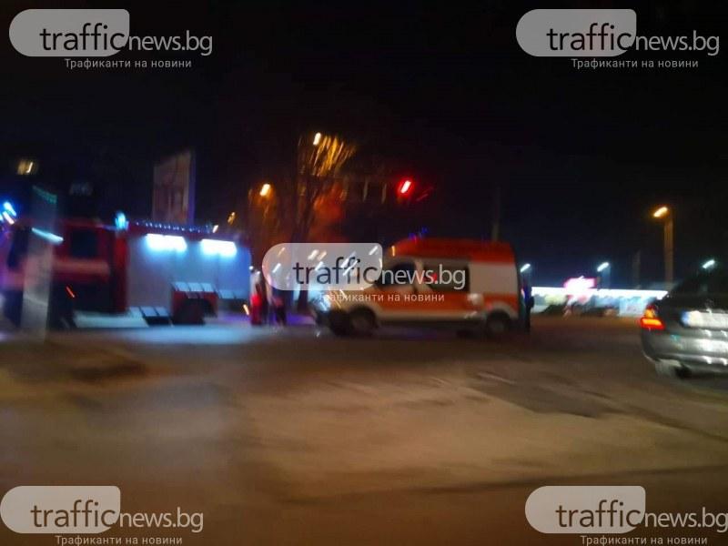 Тежка катастрофа в Пловдив, пожарна и линейка са на мястото СНИМКИ