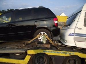 Кола падна от платформа на бус на магистрала Тракия! Озова се в насрещното