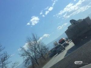Меле между три коли край Пловдив, линейка е на място СНИМКА