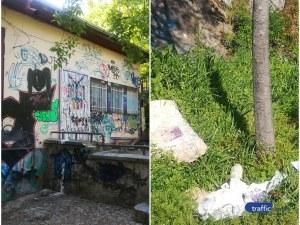 Сърцето на Пловдив отново кърви! Купищата боклуци и графити се завърнаха на Сахат тепе СНИМКИ
