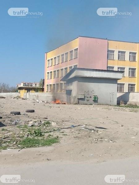 Запалиха боклуци до трафопост в кв. Столипиново в Пловдив