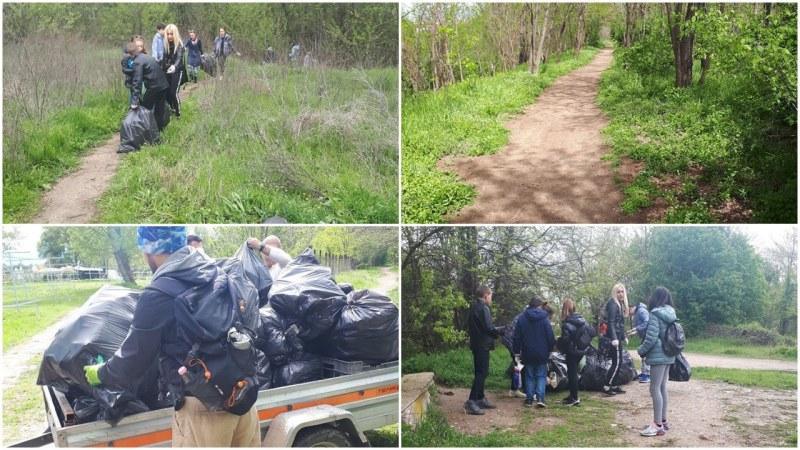 Доброволци почистиха южния бряг на Марица, събраха десетки чували с боклук
