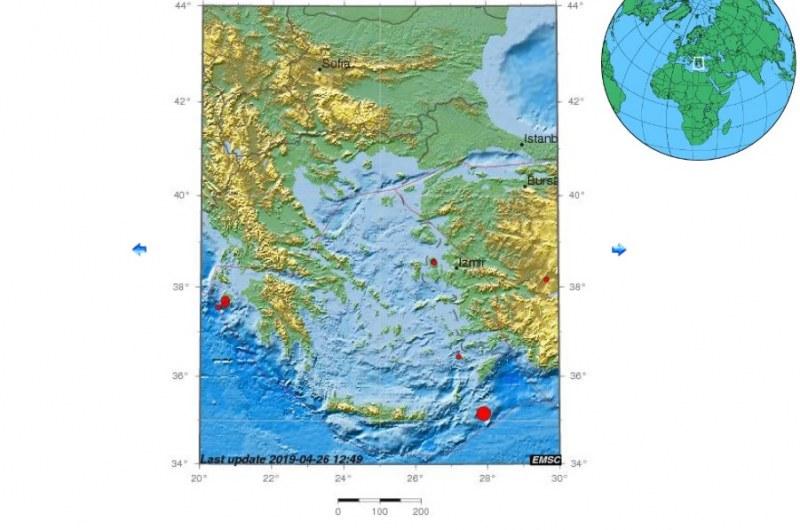 Земетресение с магнитуд 4,4 по Рихтер разтърси о-в Крит