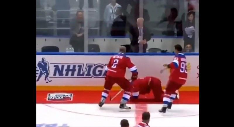 Путин се спъна в червено килимче и падна след хокеен мач