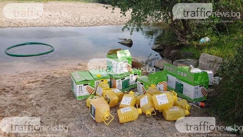 Опасни химикали захвърлени до река Стряма, подозират фермер