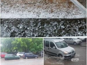 Градушка удари Пловдив, дъждът отново наводни улиците