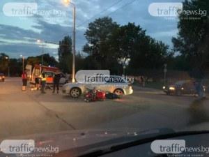 Блъснатият моторист в Пловдив е в болница, със счупен крак е