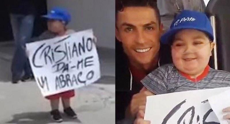 Роналдо спря автобуса на Португалия, за да прегърне болно дете
