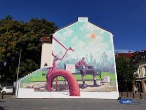 Айлякът заживя върху стена в центъра на Пловдив