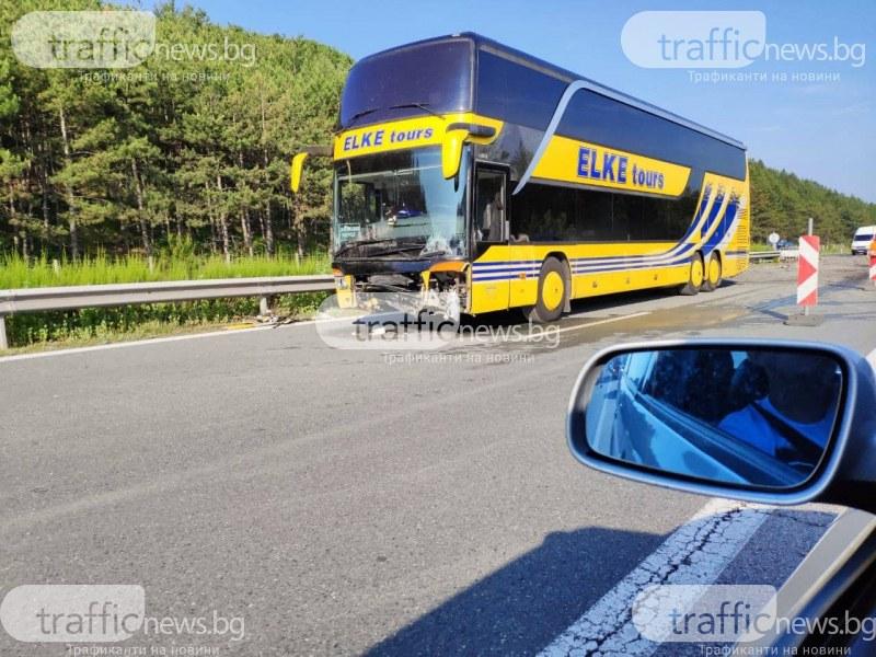 Катастрофа с автобус на АМ Тракия! Образува се километрична тапа