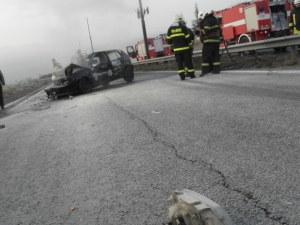 Катастрофа край Бургас! Пламна кола с метанова уредба