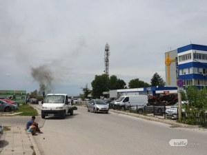 Черен дим се стели над КАТ-Пловдив