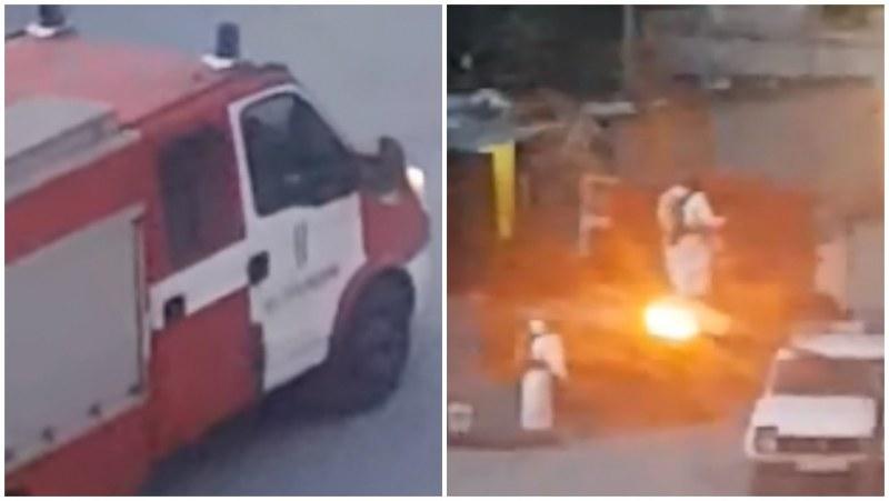 Акция в Столипиново! Мъже с предпазни костюми изкараха варели с мистериозно съдържание от Марица