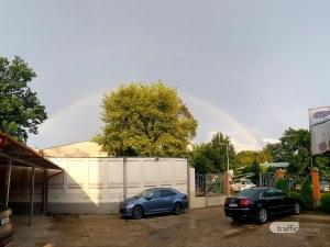 Гръм, мълнии и две дъги над Пловдив