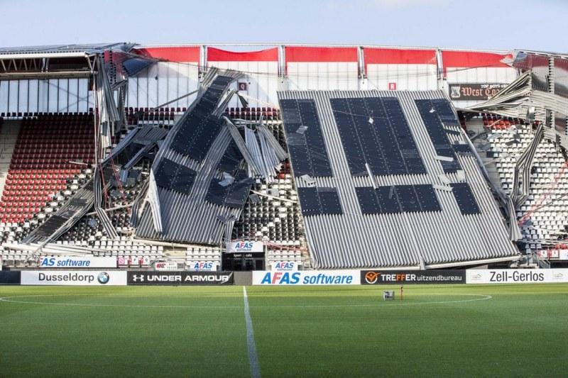 Срути се част от покрива на стадион на холандски гранд, часове преди спортно събитие