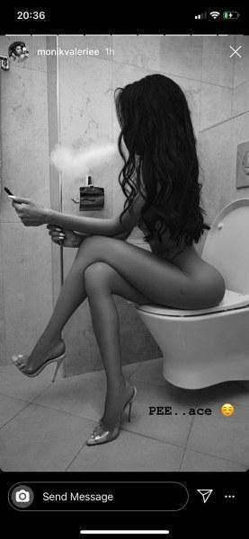 Моника Валериева се щракна в тоалетната