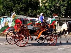 Патриотично! Каруца с български знамена препуска в галоп из Пловдив