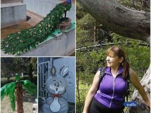 Изкуство от боклук! Пловдивчанка преобрази цял парк с цветя и животни от пластмасови бутилки