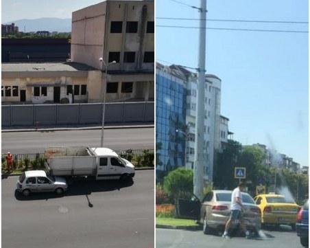 Две катастрофи на един булевард в Пловдив: Кола се заби в стълб, друга в задницата на камион