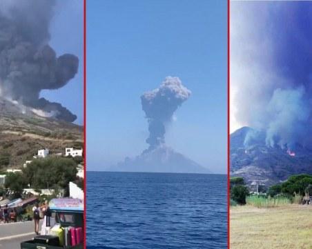 Вулкан в Италия изригна отново, предизвика пожари
