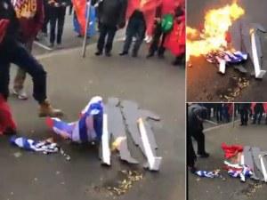 Българското знаме в пламъци предизвика бурна реакция на Външно министерство