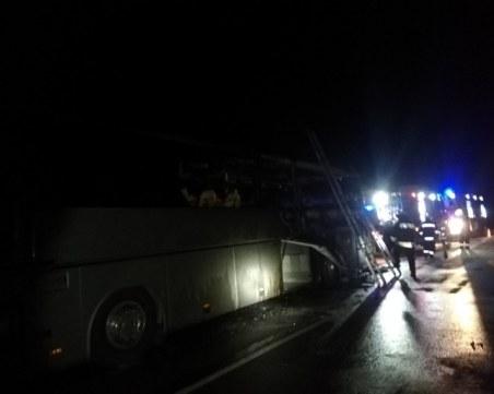 Автобус с 51 пътници се запали в движение край бургаско село