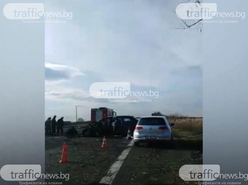 Катастрофа затвори АМ Тракия край Пловдив! Пожарникари вадят шофьорката