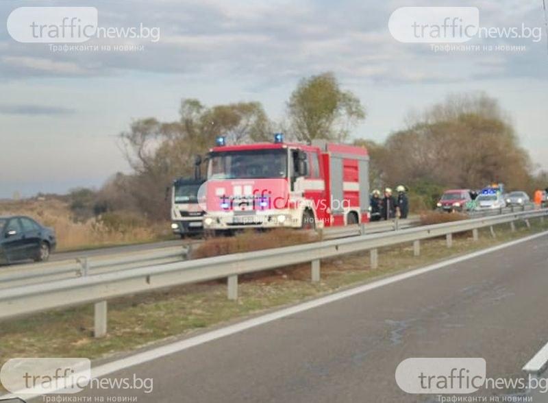 Километрична тапа на АМ Тракия заради тежката катастрофа край Пловдив