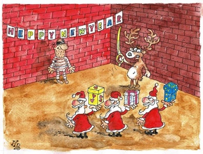 101 карикатури, посветени на зимните празници, радват столичани на Женския пазар