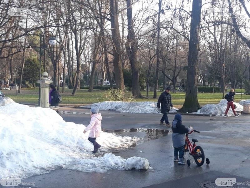 Отново купища лед в Цар-Симеоновата градина