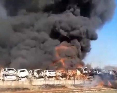 Огромен пожар в автоморга в Хасково обгази града