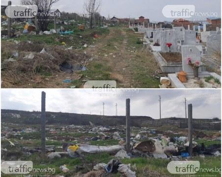 Роми превърнаха асеновградските гробища в сметище