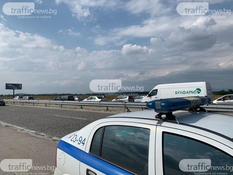 Кола се обърна в канавка край Пловдив, шофьорът – пиян
