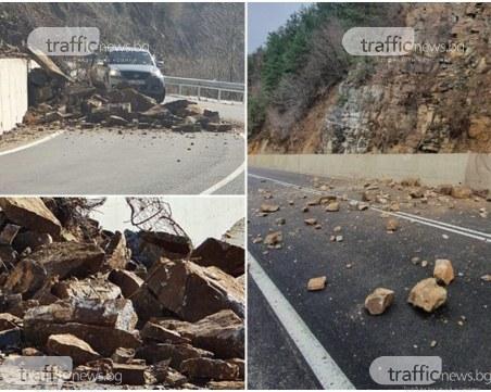 Въпреки ремонта, въпреки мрежата: Отново свлачище на пътя Кричим-Девин