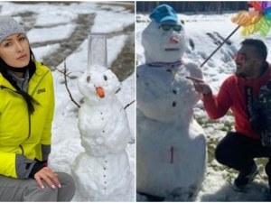 Джена и Коцето се радват на априлския сняг