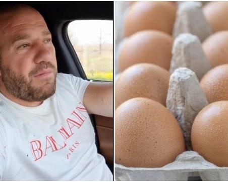 Динко раздава безплатно 15 000 яйца на паркинга пред голяма верига магазини