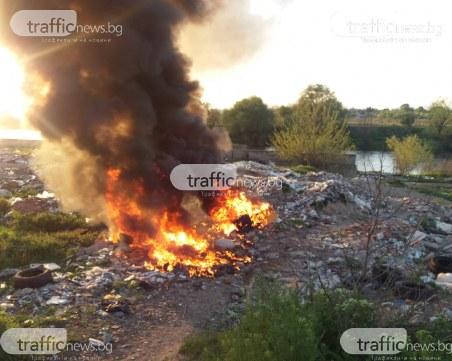 Черен дим и миризма на изгорели гуми в Столипиново
