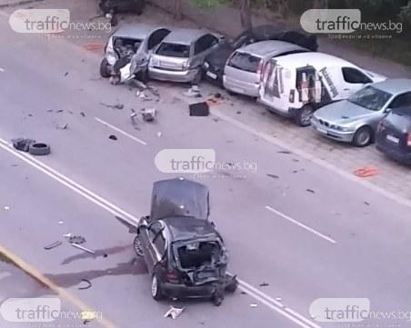 Меле в Тракия! Пиян шофьор отнесе няколко паркирани коли