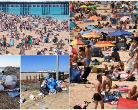 Kупчини с боклук и бутилки, пълни с урина, затрупаха британските плажове