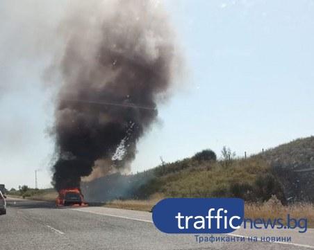 Джип се запали на магистрала