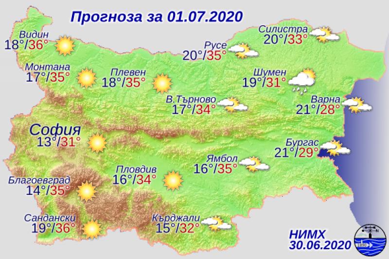 Топло и слънчево ще бъде времето и днес