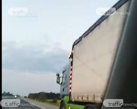 В деня на зверската катастрофа на АМ Тракия: Друг ТИР изпреварва в аварийната лента с бясна скорост
